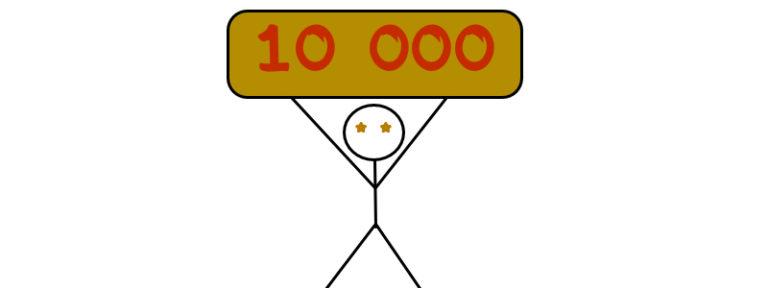 Panáček drží nad hlavou zlatou cihlu s nápisem 10 000
