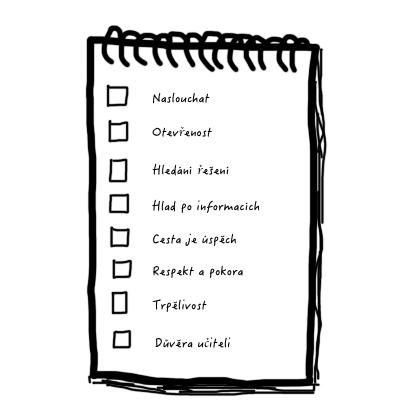 ideální žák a jeho seznam, check-list osmi ctností či zásad, co by měl žák mít